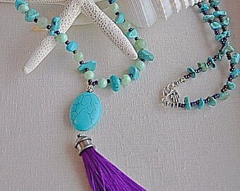 Boho inspired turquoise necklace
