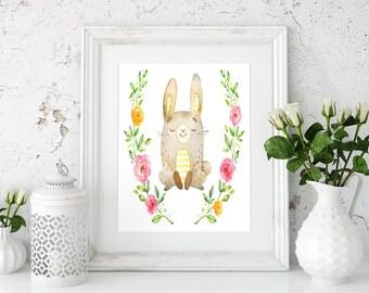 Woodland cute bunny, Woodland nursery bunny, Nursery prints, Nursery bunny print, Rabbit print, Watercolor bunny, Forest animals art, Prints
