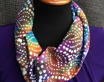 Colorful Scarf, Tie Dye Infinity Scarf, Polka Dot Scarf, Dotted, Rainbow Scarf, Fashion Scarf, Unique Scarf, Summer Scarf, Infinity Scarf