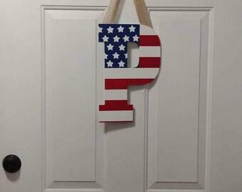 Patriotic Letter Door Hanger