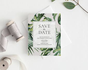 Save the Date | Printed Save the Date | Tropical Invitation | Palm Leaves | Save the Date | Monstera | Tropical Wedding | Banana Leaf | Zoey