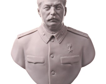 Soviet / Russian / USSR Leader Joseph Stalin Marble Bust / Statue 16cm (6.3'') white