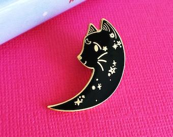 Moon Cat Enamel Pin   Lapel Pin   Cute Enamel Hat Pin   Cat Lady Pin   Space Kitten Pin   Kitty Pin   Mystical Cat Pin   Moon Pin   Cat Pin