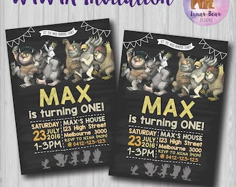 Where the Wild Things Are Invitation, Where the Wild Things Are Blackboard Invitation, Wild Things Birthday Party, Wild Things Printable