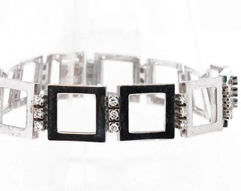 Bracelet links square gold 18K Diamond gray
