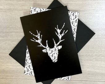 Wood deer pattern cards - Collection stencil & reason