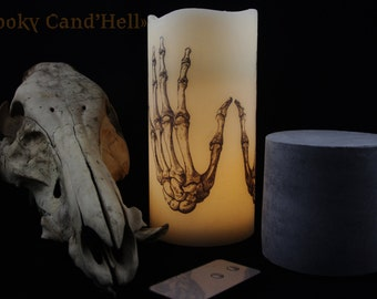 "Candle ""Spooky Cand'Hell"" to LED 2 skeleton hands."