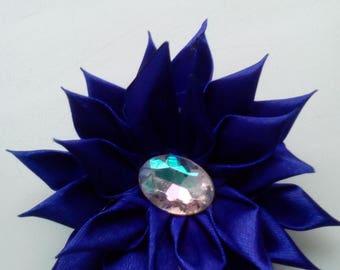 Silk flower brooch, Blue flower brooch.