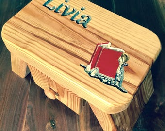 Child's Stool With Drawer - Custom Name and Picture