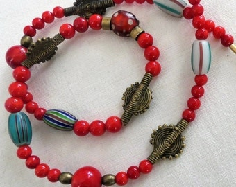 African Beads, red coral, bronze beads, necklace, eye beads