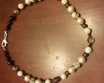 Treasured Memory Necklace (Pearl, Moss Agate, Flourite, Mother of Pearl, Hematite, Obsidian, Jet)