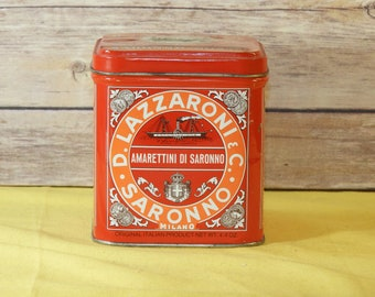 Vintage Italian Lazzaroni Saronno Milano, Collectible Square Craft Supplies,Milano Tin, Vanity Storage Box,Red Italian Tin, Decorative Tin