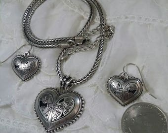 Valentines Silver Heart and Cross necklace with matching earrings