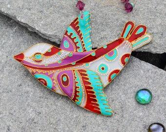 Fused Glass Bird hand painted  Suncatcher; Home Decor: Wall Decor; Wall Hanging;  Handmade