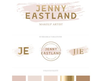 Watercolour Gold Foil Branding Logo Design Package. Business Logo Design.