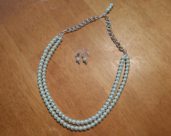 Adjustable dual strand faux pearl necklace and earring set