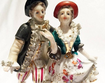 Bone China Lace Victorian Couple Figurine