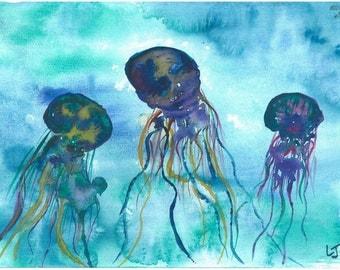 Jellies Watercolor Print
