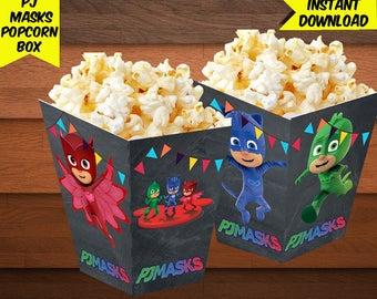 PJ Masks Popcorn Box-Pj Mask Popcorn Box-Digital Pj Mask Birthday-Pj Mask Party Decoration-Printables Pj Mask Popcorn Box-DIGITAL Download