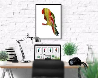 Abstract Parrot, Parrot Painting, Macaw Print, Parrot lover gift, Parrot Wall Art, Tropical Bird Art, Modern Parrot, Macaw, Bird Lover Print