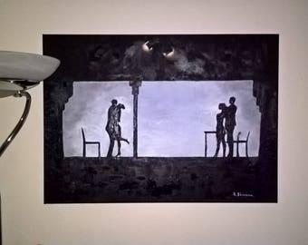 Oil Painting, original work , subject taken from Oscar winning  La La Land .