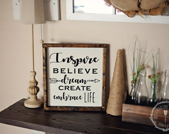 Inspire Believe Dream Create Embrace Life Arrow Wood Sign, Farmhouse and Rustic Decor, Gallery Wall, Painted, Framed, Repurposed, Distressed