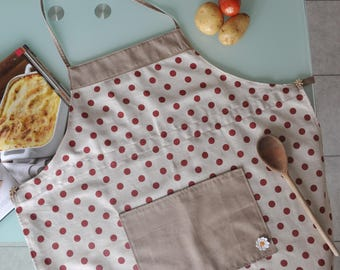 Cotton apron with red dots, DIY, apron apron for men and women, gift idea
