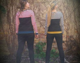 Striped sweater for women, Maritim, available in different colours, black, red, mustard yellow, teal, Gr.XS-XXL