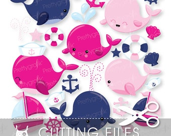 Nautical Whales cutting files, svg, dxf, pdf, eps included - cutting files for cricut and cameo - Cutting Files SVG - CT971