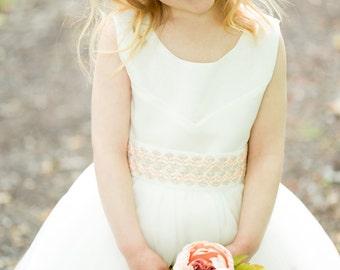 """Flower Girl Dress """"Peach Sorbet"""""""