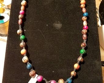 Pink Tagua focal with acai beads