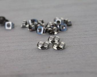 Stainless Steel Back Locks, Supply Parts for Post Earrings, Nickel Free (Hypoallergenic).