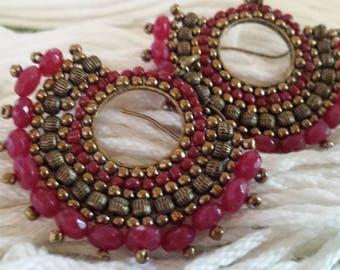 Handmade jewelry,earrings handmade jewelry ,earrings pink ,mostacilla earrings, faceted burgundy crystal earrings,  earrings boho