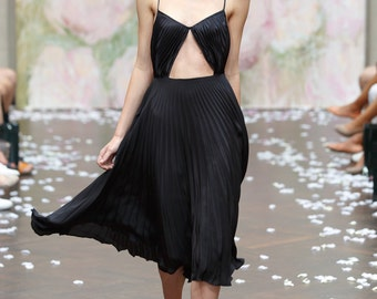 Black Plissee Silk Satin Dress