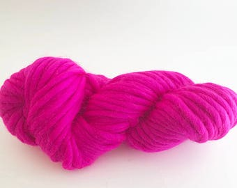 Super Chunky Merino Yarn - 50 grams - Hot Pink