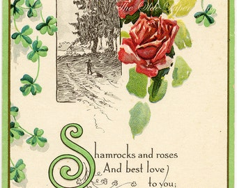 Antique St Patrick's Day Postcard Roses Shamrocks Embossed
