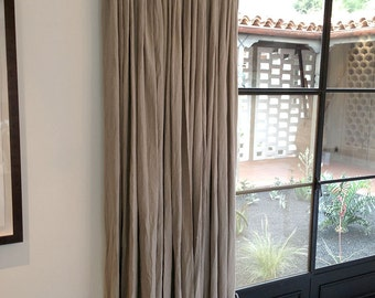 Pinch Pleat 52''Flax Linen  Curtains- linen Panels - Bedroom 100% linen drapes -Livingroom curtains - Handmade Curtains-  choose your length