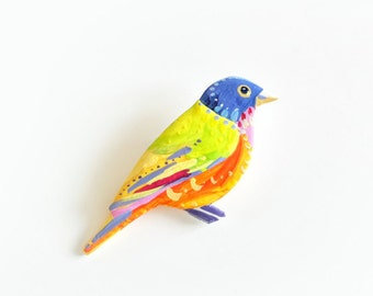 Coloured bunting. Hand painted bird brooch.