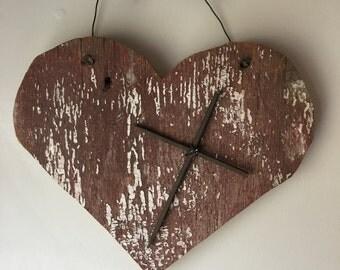Barn Wood Heart with Cross