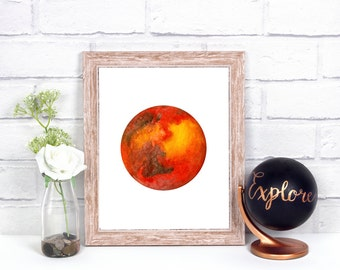 Mars Print, Mars Wall Print, Mars Home Decor, Watercolor Mars, Mars Illustration, Space Print, Planet Print, Science Print, Solar System