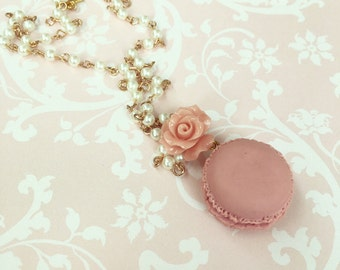 Romantic Macaron Necklace, Cute Vintage Style Necklace with Rose and Macaron, Miniature Food