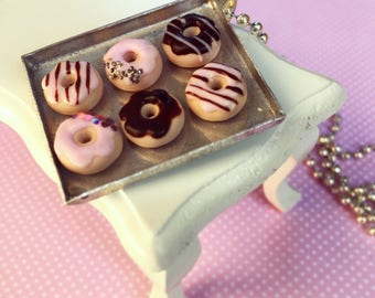 Miniature Tray of Donuts Necklace-Pink, Sweet Necklace with 6 Donuts Tray, Ball Chain, Miniature Food Jewelry