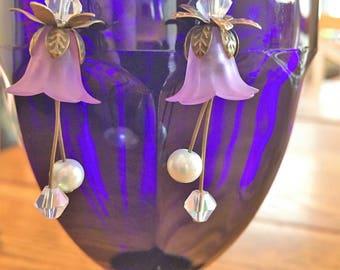 Lilac flower fairy earrings