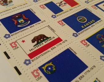 State Flag Stamps / 50 Unused USA Postage Stamps/ All 50 State Flags