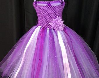 Purple, lavender & white princess dress, birthday gift for her, tutu dress for girls, princess dress, dress up, purple tutu, purple dress