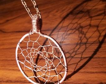 DreamCatcher Necklace ( Bare Copper Wire, Handmade)