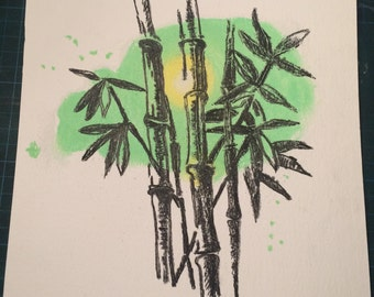Bamboo, soft pastel painting