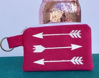 Pink Keychain Wallet / ID Wallet / Arrows / Coin Purse / Zipper Pouch / Mini Wallet / Earbud Holder / Card Wallet