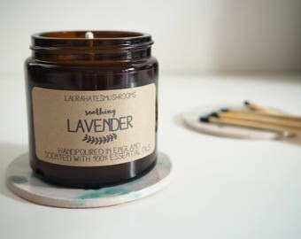lavender handpoured soy wax candle / 120ml amber jar / home decor / gift / scented candle / soothing / aromatherapy essential oil / handmade