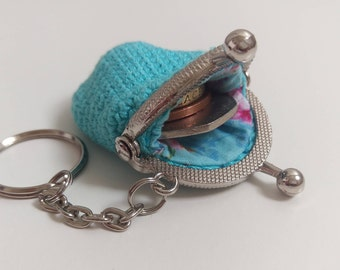 Turquoise vintage style mini coin purse keychain with kiss lock frame, womens keychain, keyring, tiny wallet, bag charm, gift for her